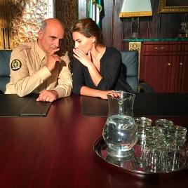 PP and Melia on set